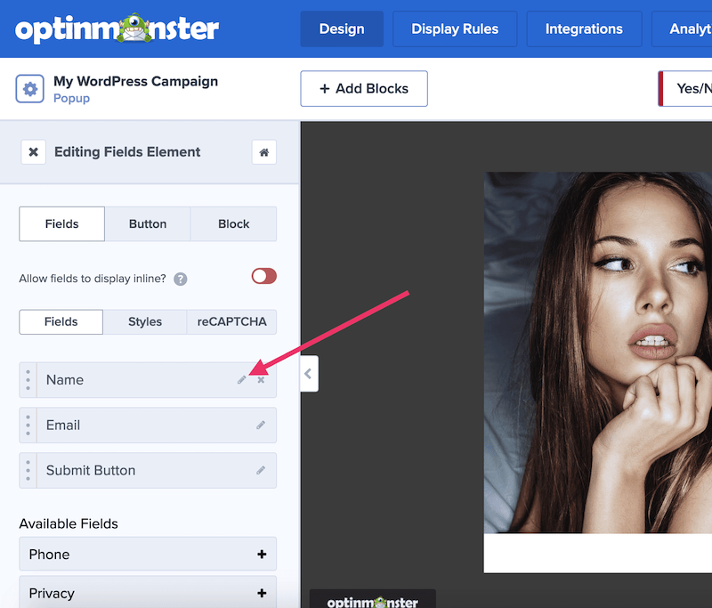 Edit OptinMonster form fields.