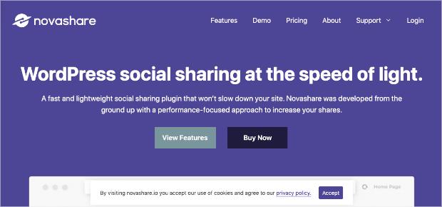 Novashare homepage