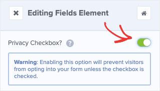 Privacy Checkbox