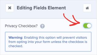 Privacy Checkbox