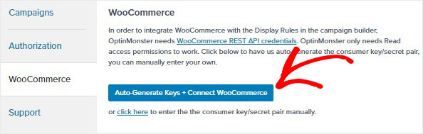 WooCommerce autogenerate keys_
