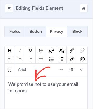 change privacy text-min