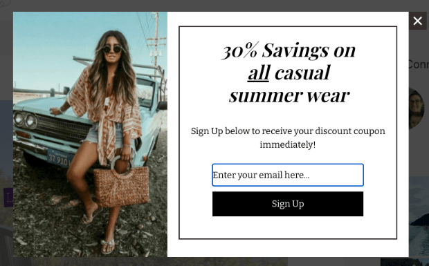 Geotargeting example with summer wear