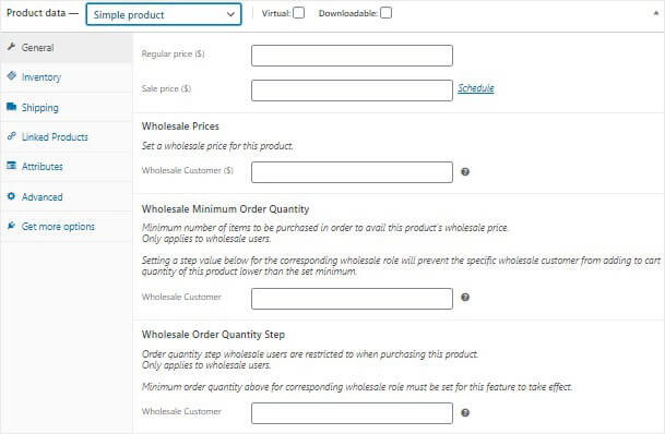 Wholesale pricing screen