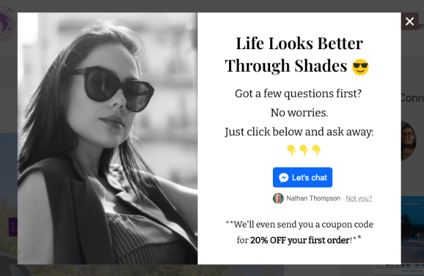 shopify manychat popup demo correct sizing
