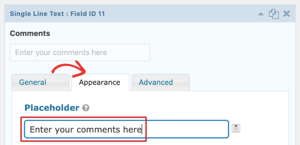 comments placeholder gravity forms