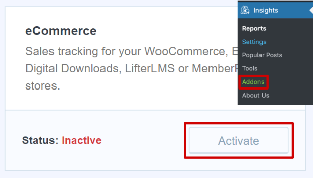 ecommerce addon in monsterinsights