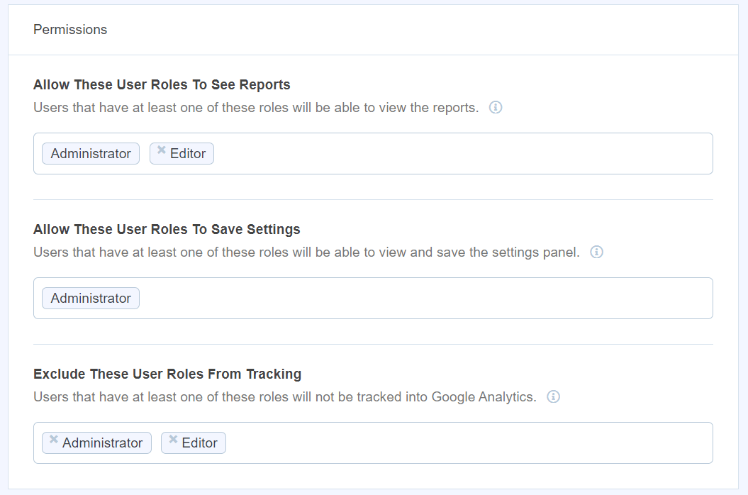 exclude user roles from tracking
