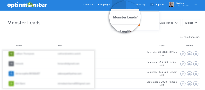 monster leads in the optinmonster dashboard