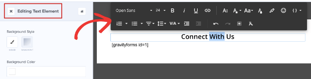 text editor in om campaign