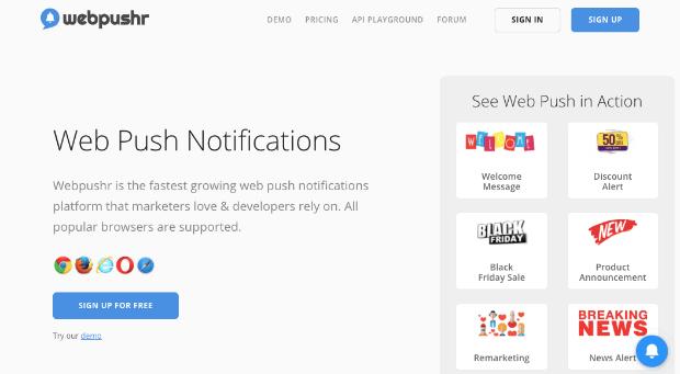webpushr push notifications