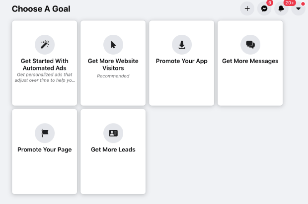 choose a goal with facebook ads-min