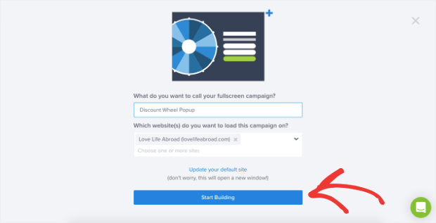 click start building to add discount wheel popup to the builder