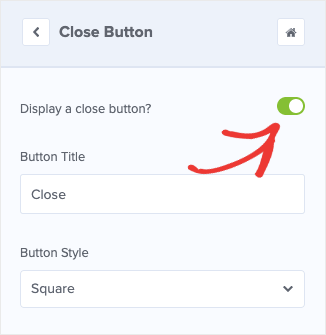 display a close button in optinmonster