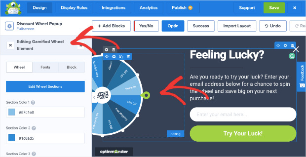 edit the spin to win wheel