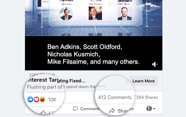 facebook ad with lots of likes