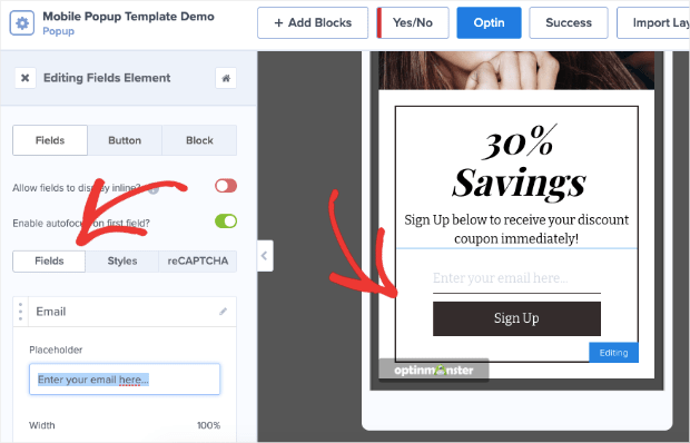 mobile popup template demo