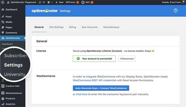 OptinMonster plugin Settings page.