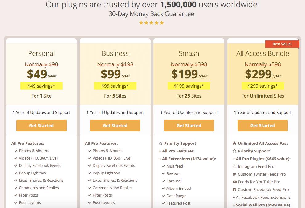 smash balloon pricing