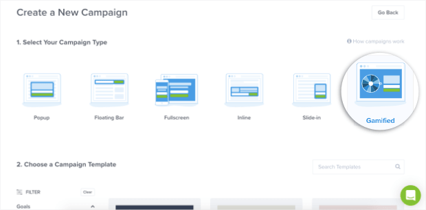 select gamified popup campaign type for optinmonster