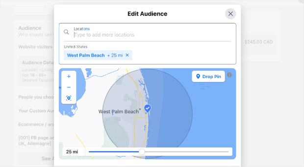 target facebook ads by location