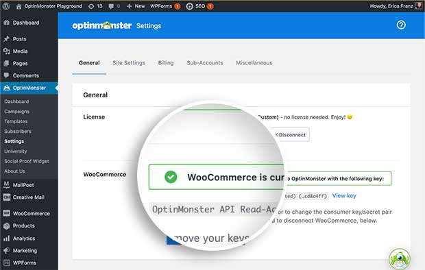 WooCommerce successfully connected to OptinMonster notice.