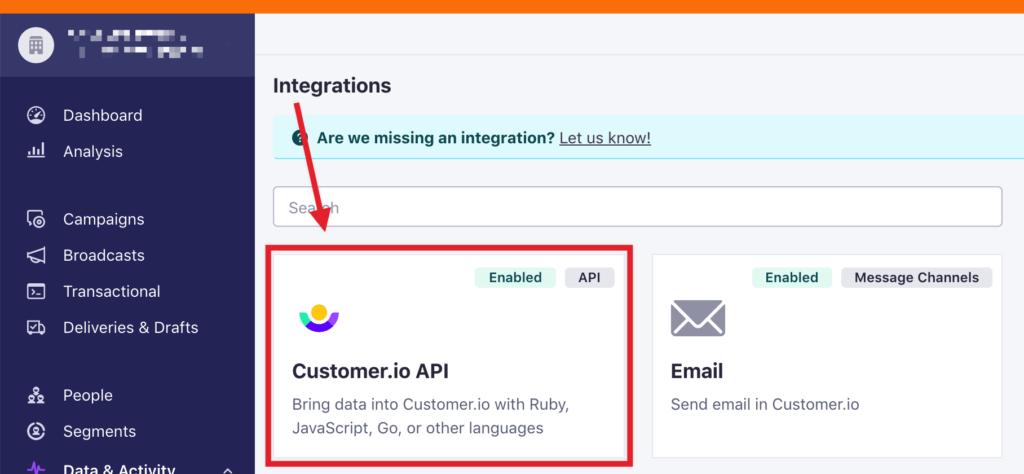 Customer.io API integration option