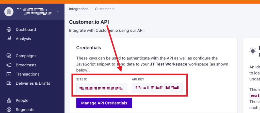 Customer.io Site ID and API Keys.