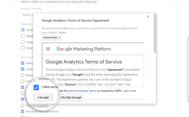 Accept terms Google Analytics