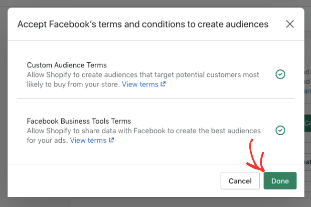 accepted facebooks terms and conditions