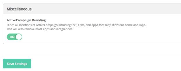 ActiveCampaign remove branding