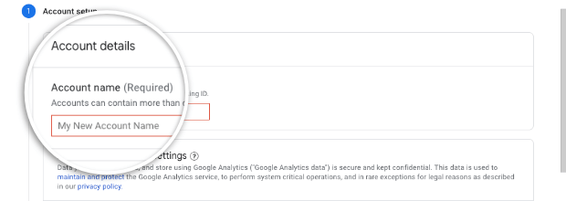 Add account name in Google Analytics