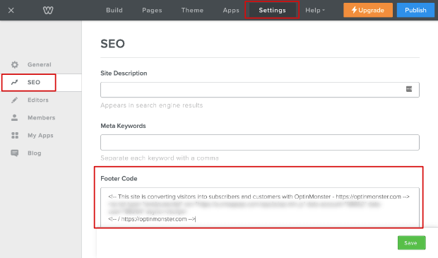 Add footer code in seo settings Weebly