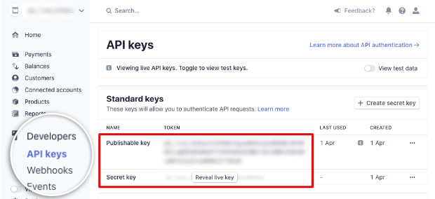 API keys in Stripe