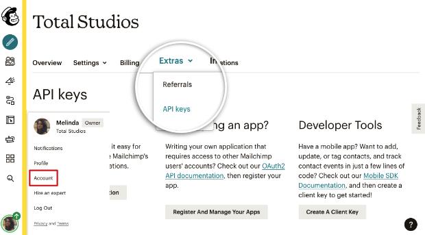 API keys option in Mailchimp