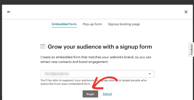 Begin creating sign up form in mailchimp