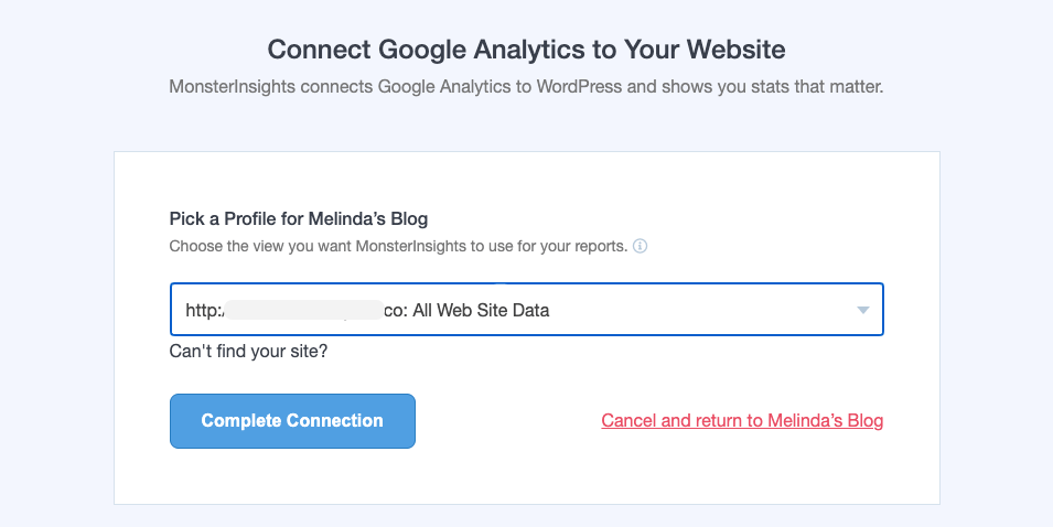 Complete connection in MonsterInsights
