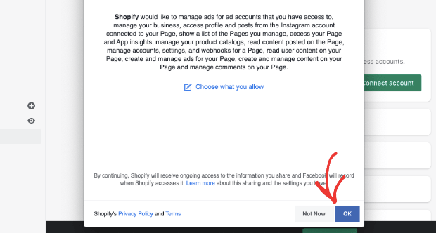confirm facebook access to your store