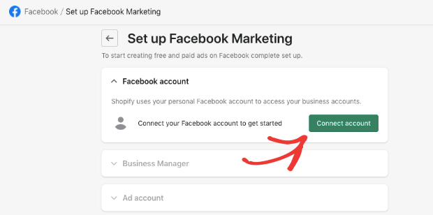 connect account facebook to shopify