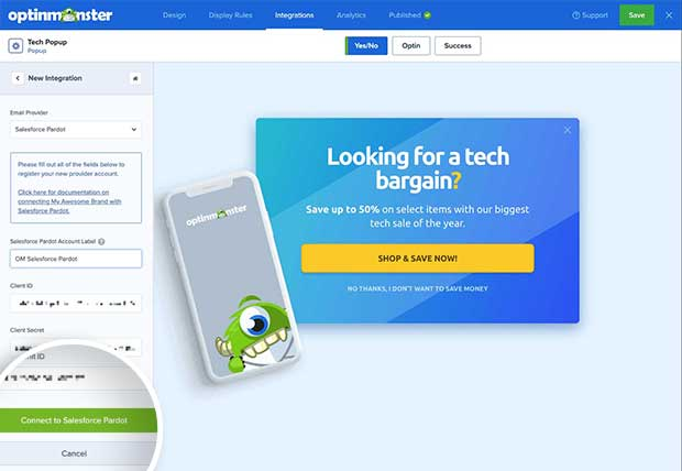 Connect to Salesforce Pardot button.