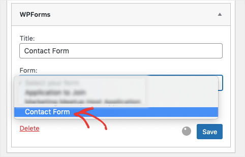 contact form from sidebar menu with wpforms