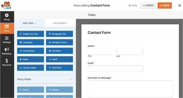 contact form template in wpforms
