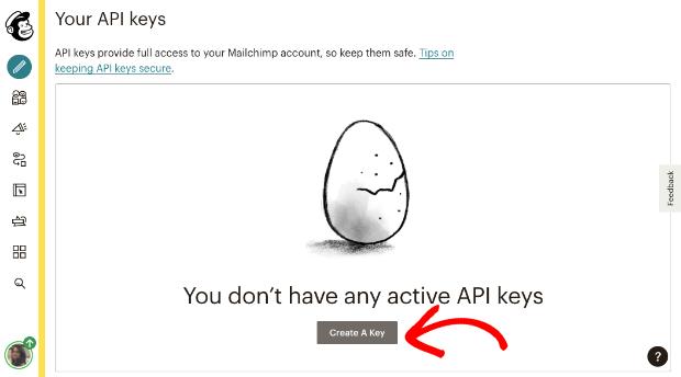 Create api key in Mailchimp