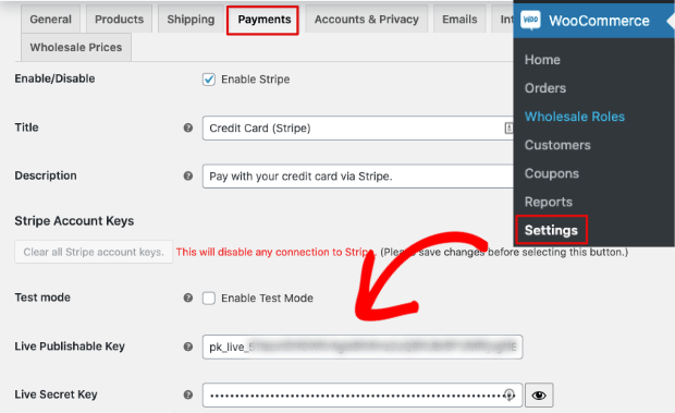Enter api keys in stripe settings on wordpress