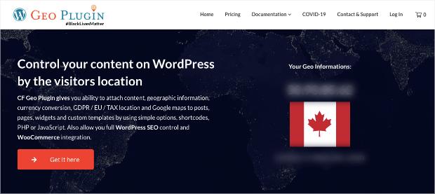geoplugin for wordpress