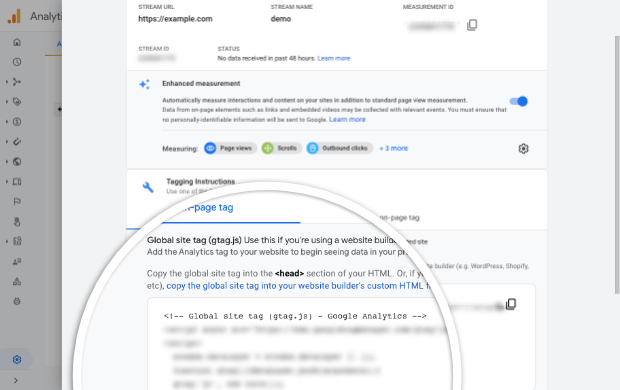 Global site tag in Google Analytics