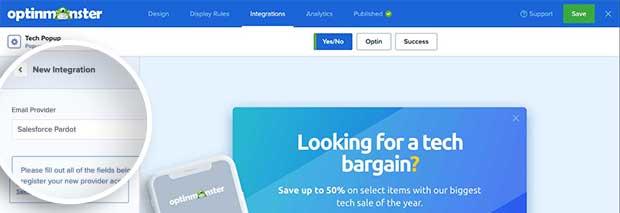 Salesforce Pardot integration option dropdown field.