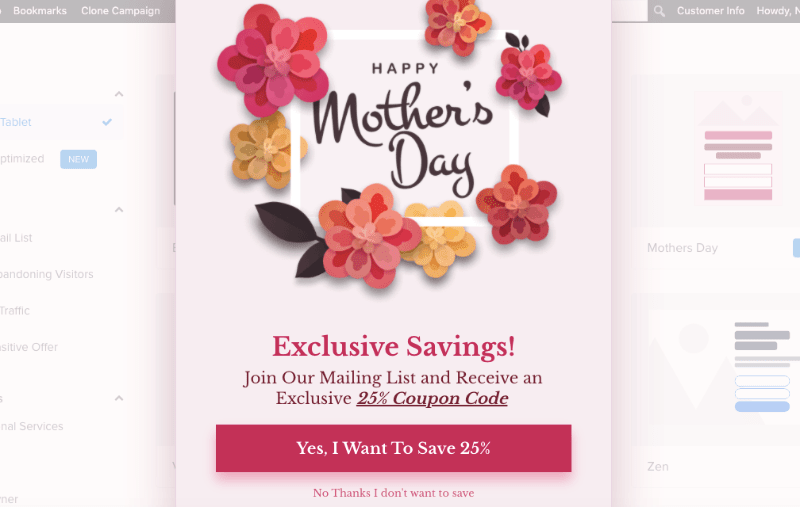Mother's Day template for OptinMonster
