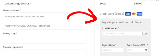 Pay with stripe on checkout page