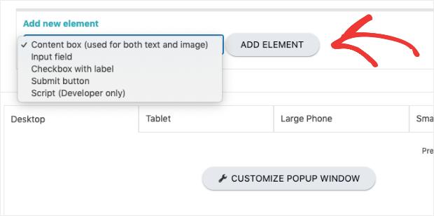 popupally add new element